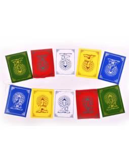 Modlitební praporky, 7 praporků 16x20 cm, potisk Buddha, bavlna