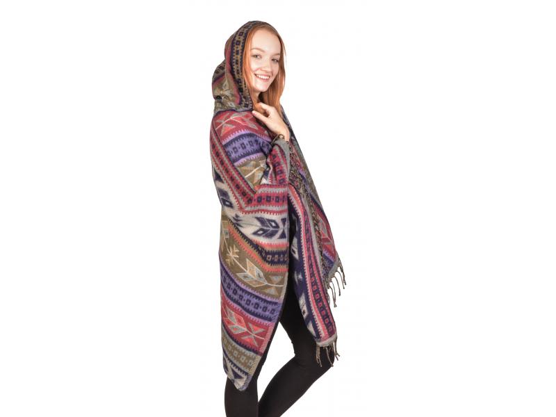 Barevné pončo s kapucí a třásněmi, vzor aztec, bežovo-fialové