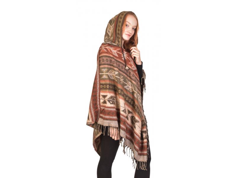 Barevné pončo s kapucí a třásněmi, vzor aztec, bežovo-šedivé