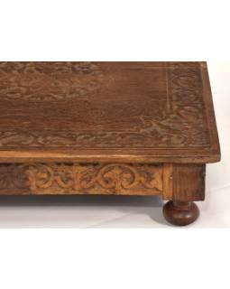 Čajový stolek z teakového dřeva, ručně vyřezávaný, 45x45x11cm
