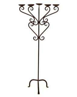 Kovový svícen, ručně tepaný, 52x25x115cm