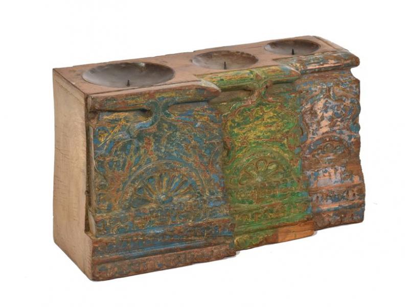 Antik svícen z mangového dřeva, 42x16x25cm