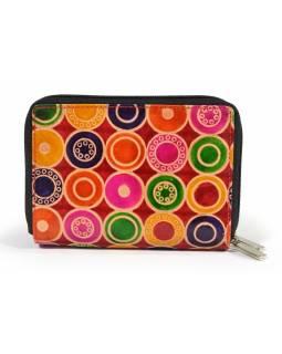 """Peněženka design """"Colored Circles"""", ručně malovaná kůže, červená, 15x10cm"""