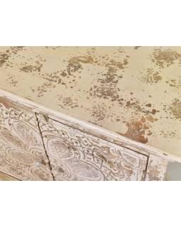 Komoda z teakového dřeva, bílá patina, 90x41x90cm