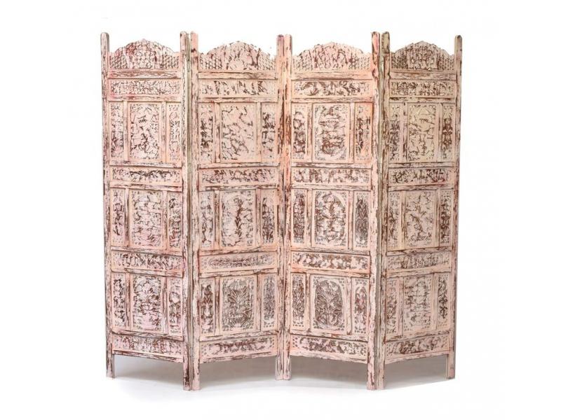 Vyřezávaný paravan z mangového dřeva, 200x3x180cm