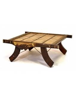 Konferenční stolek vyrobený ze starého povozu, teak, 100x100x40cm