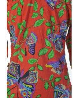 """Červená halenka s tříčtvrtečním rukávem a potiskem """"Butterfly design"""""""