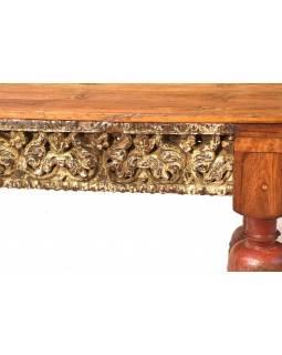 Starý jídelní stůl z teakového dřeva, ruční řezby, 231x90x79cm