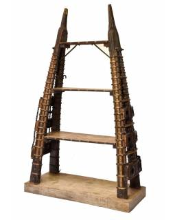 Knihovna s postranicemi z velbloudího povozu a starého dřeva, 130x56x215cm