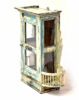 Prosklená skříňka z teakového dřeva, tyrkysová patina, 62x21x73cm