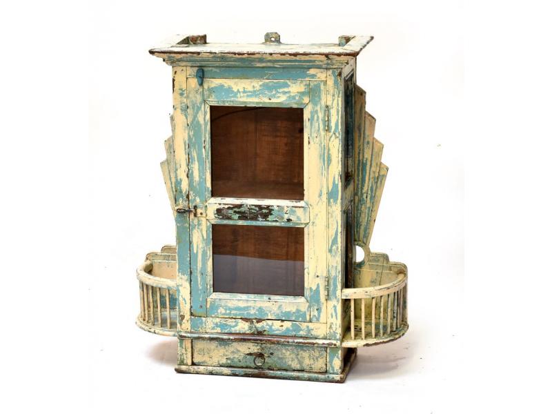 Prosklená skříňka z teakového dřeva, tyrkysovo-krémová patina, 62x21x73cm