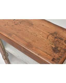 Prosklená skříňka z teakového dřeva, tyrkysová patina, 62x28x96cm