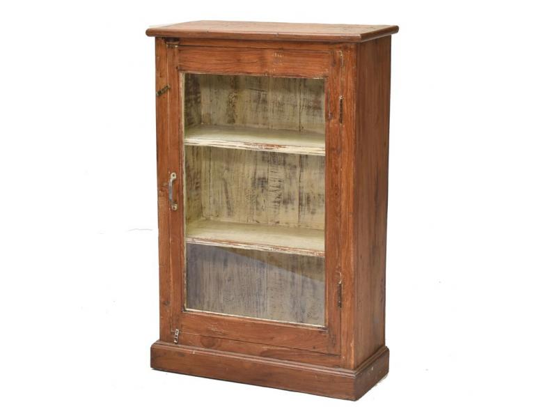 Prosklená skříňka z teakového dřeva, 62x28x96cm