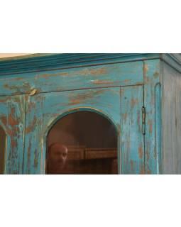 Stará dvoudílná kredenc z teakového dřeva, tyrkysová patina, 106x58x200cm