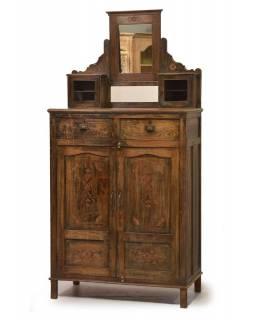 Stará skříň z teakového dřeva se zrcadlem , 86x75x145cm