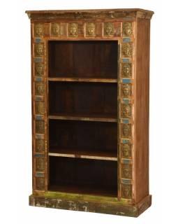 Knihovna z teakového dřeva zdobená reliéfy Buddhů, 90x40x151cm
