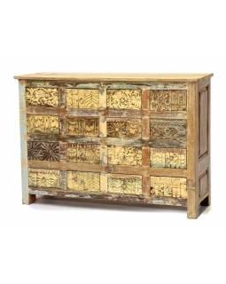 Šuplíková komoda z antik teakového dřeva, ruční řezby na šuplíkách, 124x35x88cm