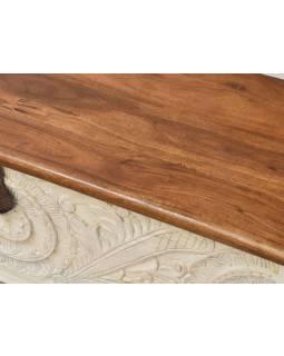 Truhla z mangového dřeva, zdobená ručními řezbami, 117x44x50cm