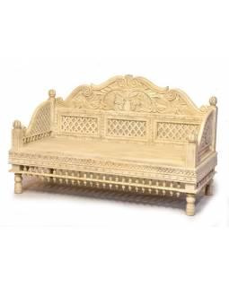 Masivní lavice z mangového dřeva, bílá patina, ručně vyřezávaná, 147x62x91cm