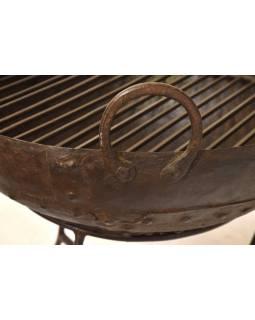 """Kovová mísa/ohniště """"Kadai"""" s roštem na stojanu, 51x51x52cm"""