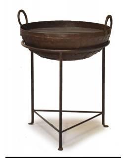 """Kovová mísa/ohniště """"Kadai"""" s roštem na stojanu, 51x51x63cm"""