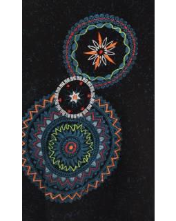 Krátké šaty s dlouhým rukávem, černé, potisk mandal