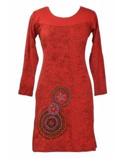 Krátké šaty s dlouhým rukávem, červené, potisk mandal