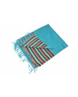 Luxusní hedvábný šál, tyrkysový, barevné konce, květovaný vzor, třásně, 186x73c