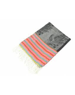 Luxusní hedvábný šál, šedý, barevné konce, květovaný vzor, třásně, 186x73cm