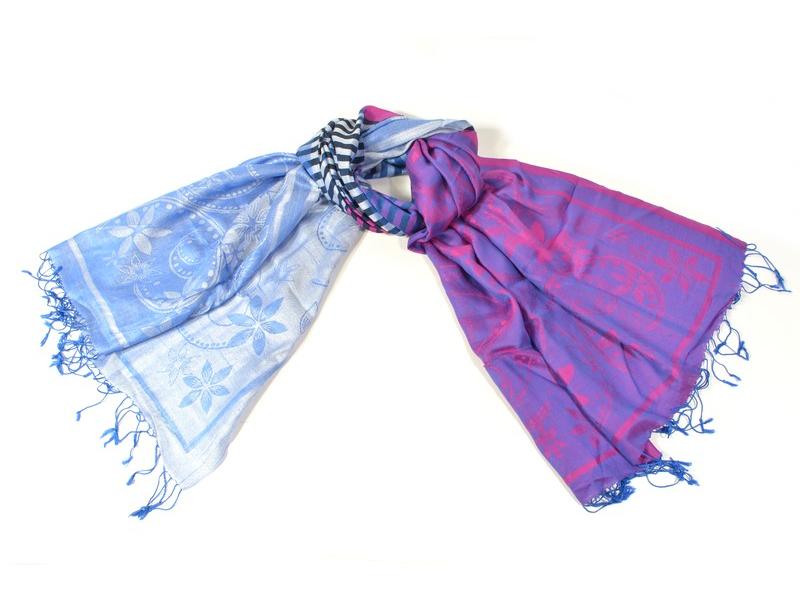 Luxusní hedvábný šál, modro-fialová, barevné konce, květ.vzor, třásně, 188x75cm
