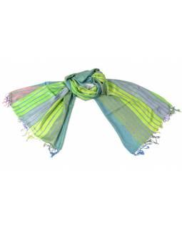 Luxusní hedvábný šál, metalické odstíny zelené, pruhovaný vzor, třásně, 196x70cm