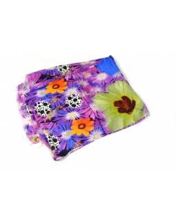 Luxusní vlněný šál, fialové květiny, cca 190x68cm