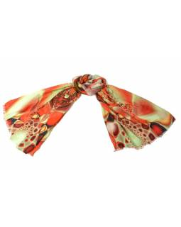 Luxusní vlněný šál, oranžové květiny, cca 190x68cm