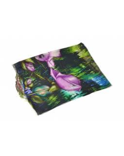 Luxusní vlněný šál, odstíny zelené, fialové květiny ,cca  190x68cm