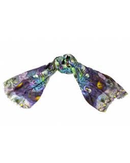 Luxusní vlněný šál, zeleno-fialové květiny ,cca  190x68cm