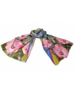 Luxusní vlněný šál, multibarevný, růžové květiny ,cca  190x68cm