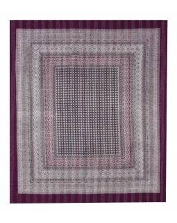 Přehoz na postel, vínový, prošívaný, blockprint, ruční práce, 260x220cm