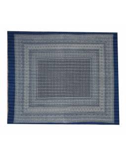 Přehoz na postel, modrý, prošívaný, blockprint, ruční práce, 260x220cm