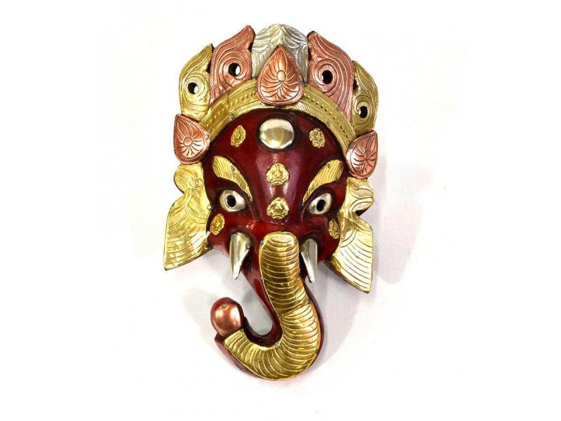 Dřevěná maska, Ganesh, červený zdobený mosazí a mědí 14x25cm