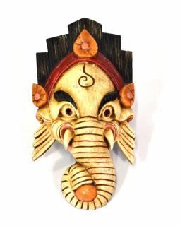 Ganeš, dřevěná maska, ručně malovaná, světlá, 17x31cm