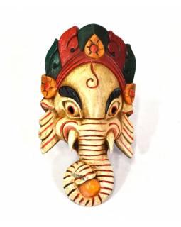Ganeš, dřevěná maska, ručně malovaná, světlá, 13x24cm