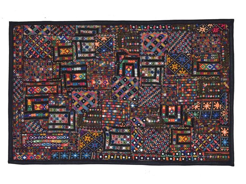 Patchworková tapiserie z Rajastanu, ruční práce, barevná, 90x140 cm