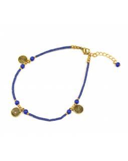 Náramek na nohu, drobné korálky, tmavě modrý, zlaté spirálky
