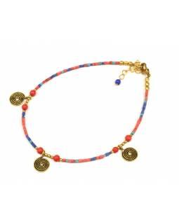 Náramek na nohu, drobné korálky, barevný, zlaté spirálky