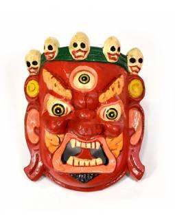 Dřevěná maska, Bhairab, ručně malovaný, 17x20cm