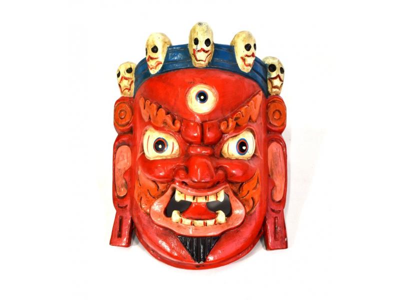 Dřevěná maska, Bhairab, ručně malovaný, 21x27cm