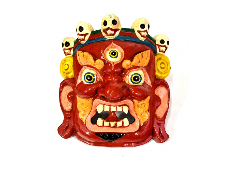 Dřevěná maska, Bhairab, ručně malovaný, 23x25cm