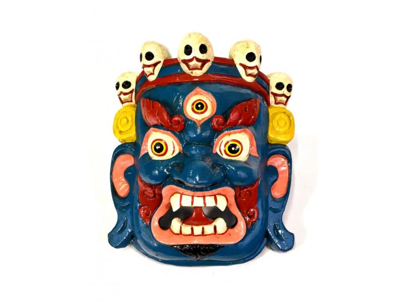 Dřevěná maska, Bhairab, ručně malovaný, 22x29cm