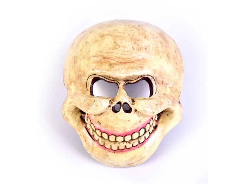 """Dřevěná maska, """"Laughing Scull"""", malovaná, 23x20cm"""