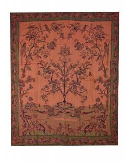 Přehoz na postel, s motivem stromu, ptáky a motýli, třásně, černo-vínový, 210x26